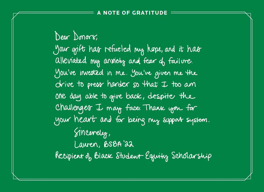 Thank You Note from Scholarship Recipient
