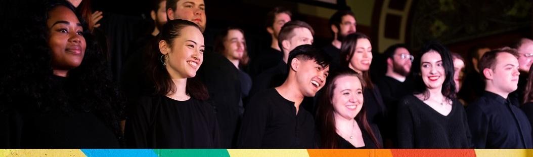 Choir with rainbow flag