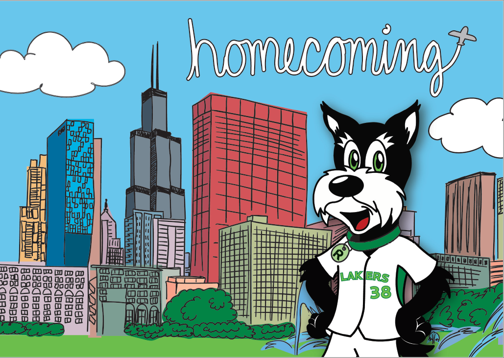 Homecoming written in the sky by a plane above the Chicago skyline. Fala mascot in the foreground.